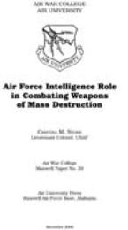 Air Force Intelligence Role in Combating... by Cristina M. Stone Lieutenant Colonel, USAF