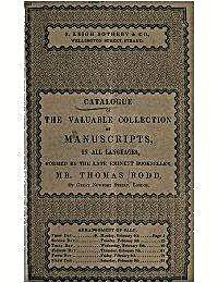 Catalogue of the Valuable Collection of ... by Rodd, Thomas