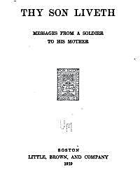 Thy Son Liveth : Messages from a Soldier... by Anonymous,