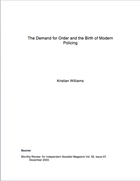 The Demand for Order and the Birth of Mo... by Williams, Kristian