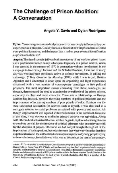 The Challenge of Prison Abolition : A Co... by Davis, Angela, Y.