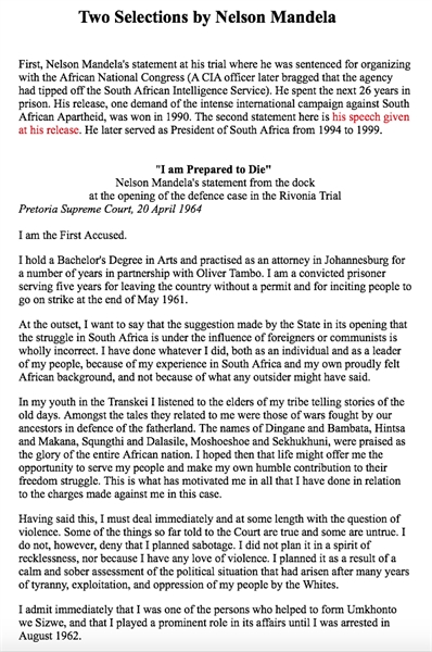 Two Selections by Nelson Mandela by Mandela, Nelson