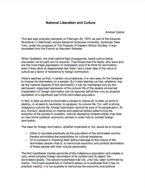 National Liberation and Culture by Cabral, Amilcar