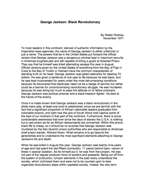 George Jackson : Black Revolutionary by Rodney, Walter