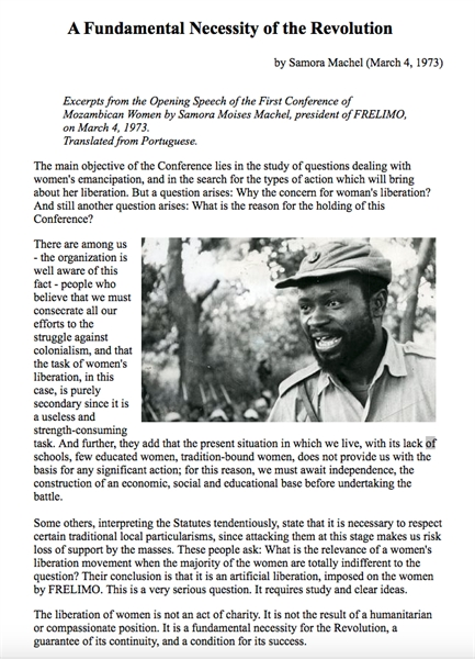 A Fundamental Necessity of the Revolutio... by Machel, Samora