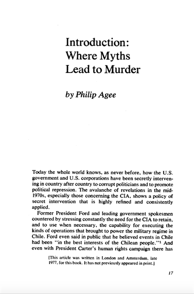 Where Myths Lead to Murder by Agee, Philip