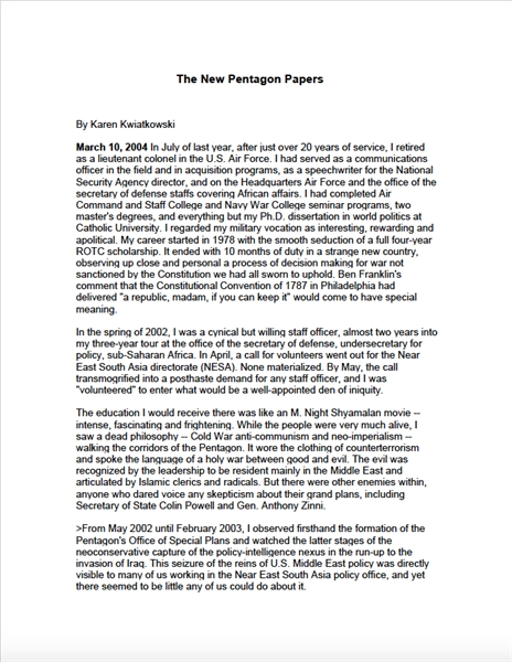 The New Pentagon Papers by Kwiatkowski , Karen