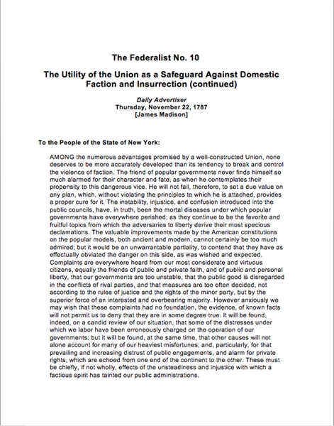 he Federalist No. 10 : he Utility of the... by Madison, James