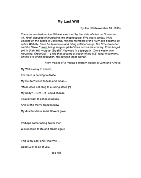 My Last Will by Hill, Joe
