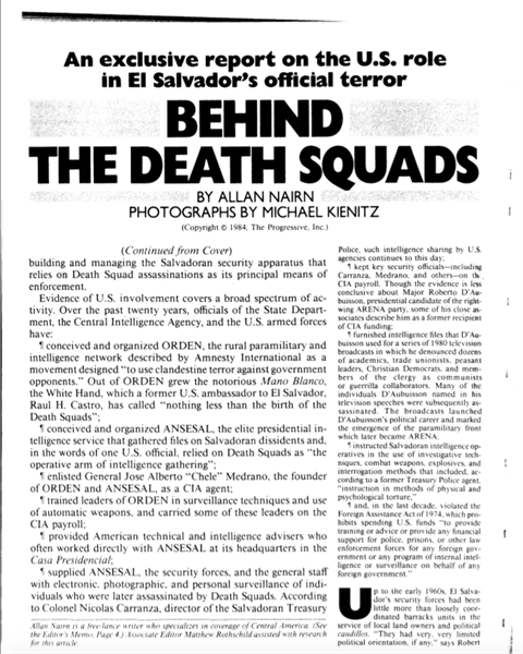 Behind the Death Squads : An exclusive r... by Nairn, Allan