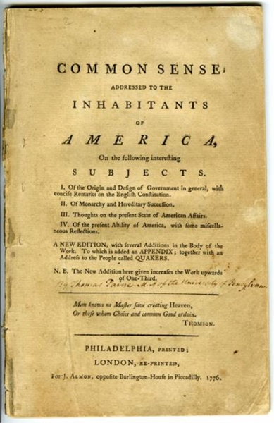 Common Sense : Addressed to the inhabita... by Paine, Thomas