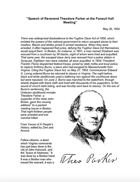 Speech of Reverend Theodore Parker at th... by Parker, Theodore