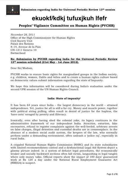 Submission by PVCHR regarding India for ... by (PVCHR), Peoples' Vigilance Committee on Human Rig...