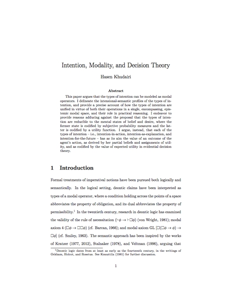 Intention, Modality, and Decision Theory by Khudairi, Hasen