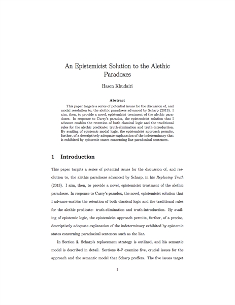 An Epistemicist Solution to the Alethic ... by Khudairi, Hasen