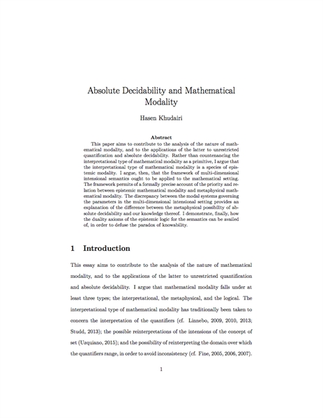Absolute Decidability and Mathematical M... by Khudairi, Hasen