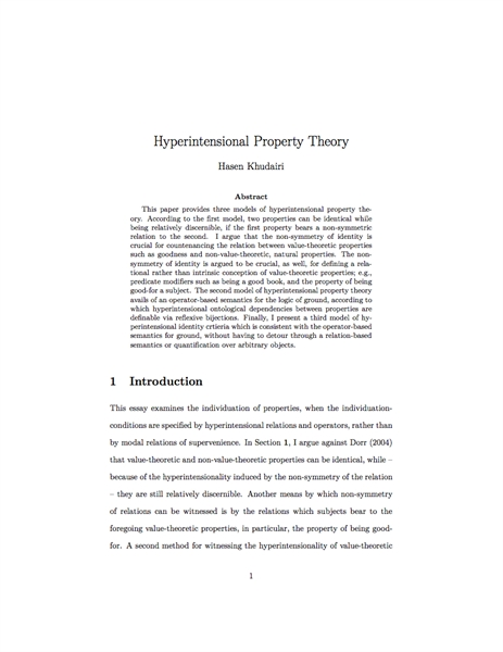 Hyperintensional Property Theory by Khudairi, Hasen