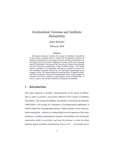 Grothendieck Universes and Indefinite Ex... by Khudairi, Hasen