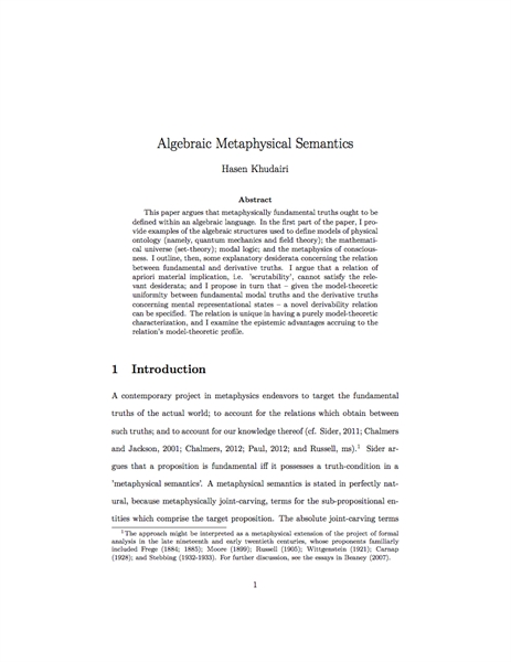 Algebraic Metaphysical Semantics by Khudairi, Hasen