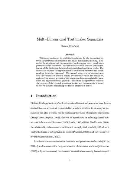 Multi-Dimensional Truthmaker Semantics by Khudairi, Hasen