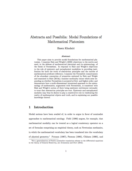 Abstracta and Possibilia: Modal Foundati... by Khudairi, Hasen