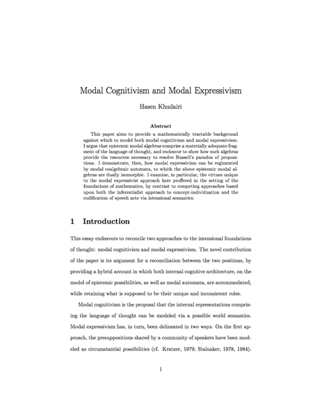 Modal Cognitivism and Modal Expressivism by Khudairi, Hasen
