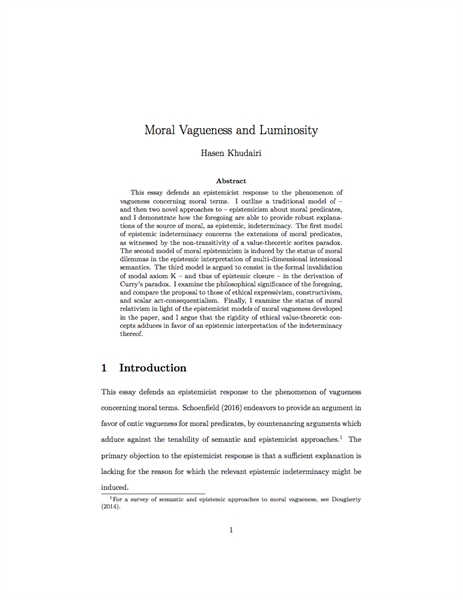 Moral Vagueness and Luminosity by Khudairi, Hasen