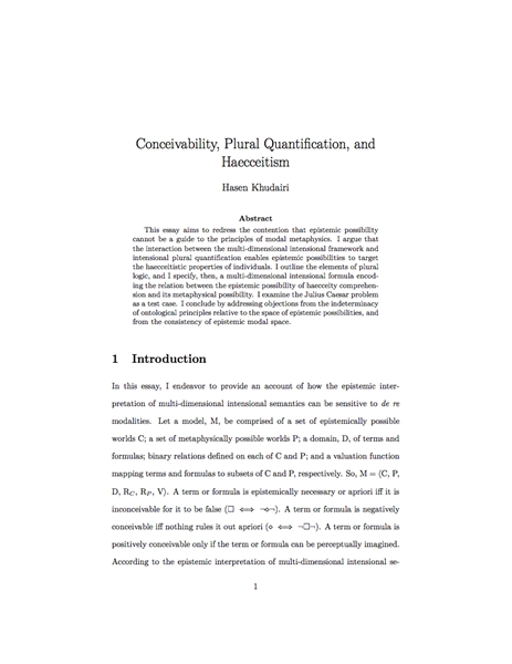 Conceivability, Plural Quantification, a... by Khudairi, Hasen