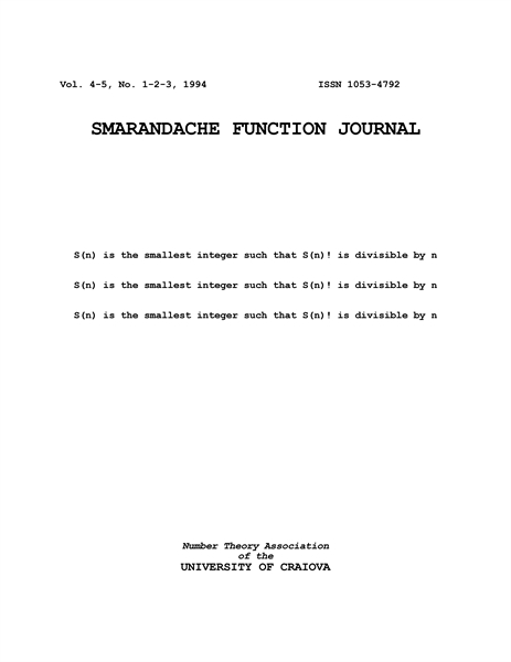 SMARANDACHE FUNCTION JOURNAL, Vol. 4-5, ... by Dumitrescu, C.