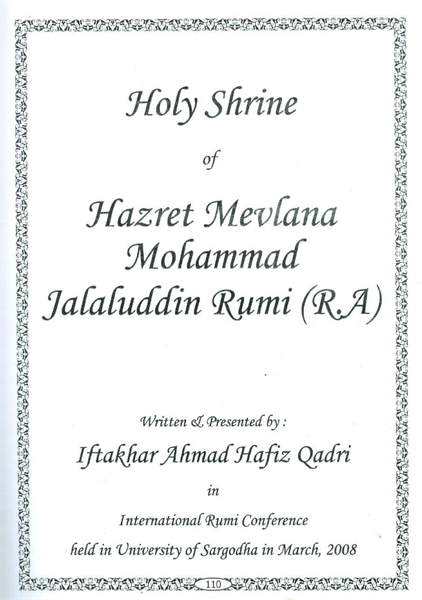 Article on Holy Shrine of Hazrat e Moula... by Qadri, Iftakhar Ahmad, Hafiz