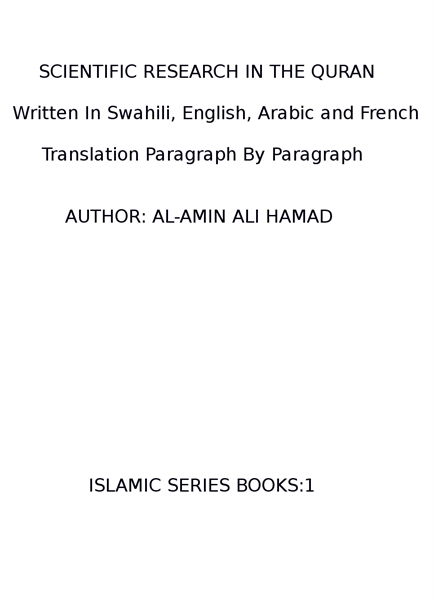 SCIENTIFIC RESEARCH IN THE QURAN (Writte... by HAMAD, AL-AMIN, ALI